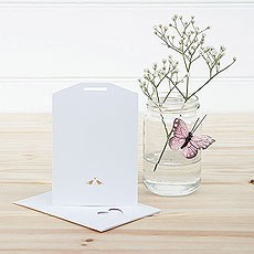 White and Gold Eco Chic Birds Design Small Insert Tag - 10 Pack