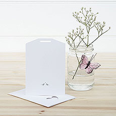 White and Silver Eco Chic Birds Design Small Insert Tag - 10 Pack
