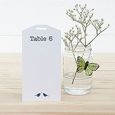 White and Navy Eco Chic Birds Design Table PlanTags 1-16