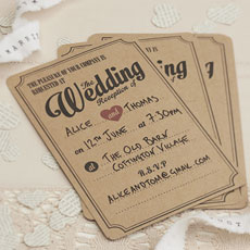 Vintage Affair Wedding Evening Invites - 10 Pack