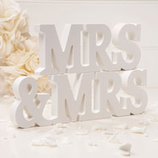Wooden Mrs & Mrs Letters Off White