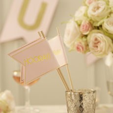 "Pastel Pink ""Hooray"" Wedding Flag"
