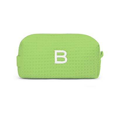 Small Cotton Waffle Cosmetic Bag Lime