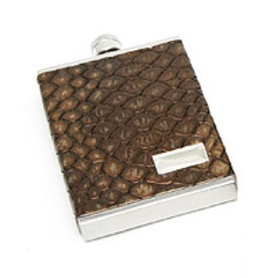 3 oz. Genuine Italian Leather Flask Metallic Brown Croc