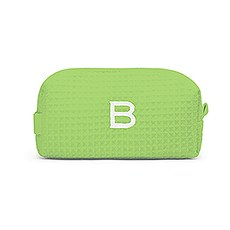 Personalized Small Cotton Waffle Makeup Bag- Lime Green