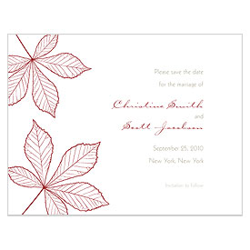 Autumn Leaf Save The Date Wedding Card