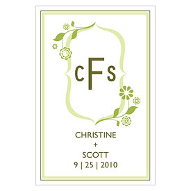 floral monogram large rectangular wedding tag stationery