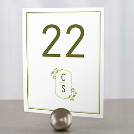floral monogram wedding reception table number cards