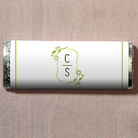 floral monogram chocolate bar wedding favor