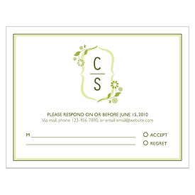 floral monogram  wedding rasp stationery