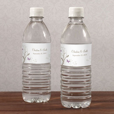 Romantic Butterfly Wedding Water Bottle Wrap