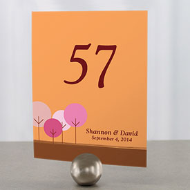 round tree wedding reception table number cards