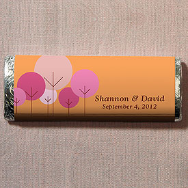 Modern Round Tree Chocolate Bar Wedding Favor