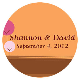round tree small wedding sticker stationery