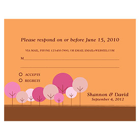 round tree wedding RSVP stationery