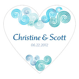 Sea Breeze Heart Wedding favor Sticker
