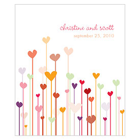 Hearts Rectangular Wedding Labels