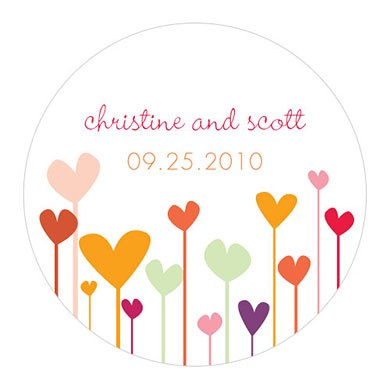 Hearts Large Wedding Favor Stickers