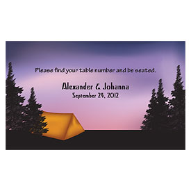 Camping Wedding Reception Escort Table Sign Card