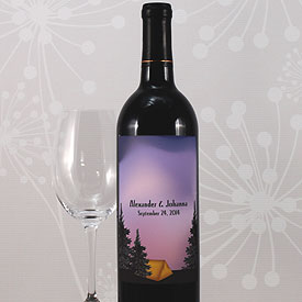 Camping Wedding Wine Bottle Label