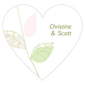 Green Organic Heart Stickers