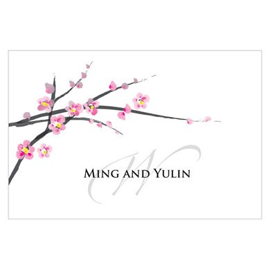 Cherry Blossom Large Rectangular Wedding Favor Tag and Place Card