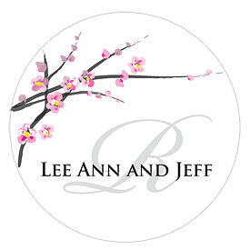 Cherry Blossom Small Wedding Favor Sticker