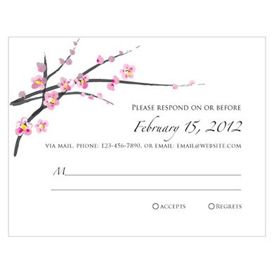 Cherry Blossom Wedding RSVP Card