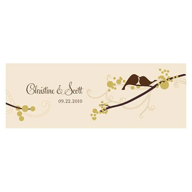 love bird small rectangular tag wedding stationery