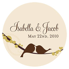 love bird large wedding sticker stationery