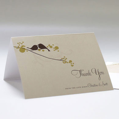 Love Bird Wedding Thank You Card