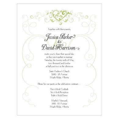 Heart Filigree Wedding Invitation