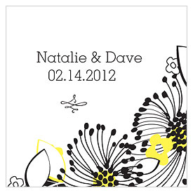 Floral Fusion Square Wedding Favor Tag