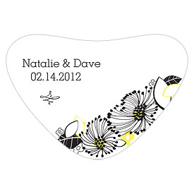Floral Fusion Heart wedding favor Container Sticker