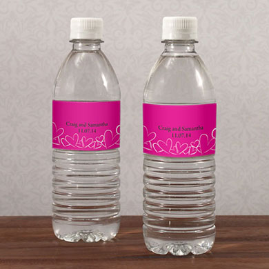 Contemporary Hearts Water Bottle Label