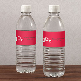 square wedding stationery water bottle label