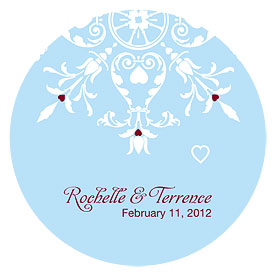 Winter Romance Large Wedding Favor Sticker