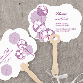 Pinwheel Poppy Hand Fan Wedding Favor