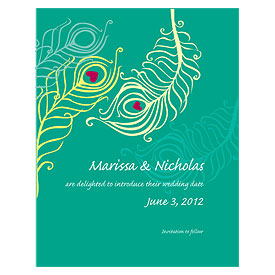 Perfect Peacock Wedding Save The Date Card
