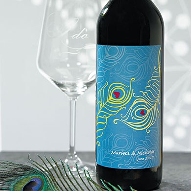 Perfect Peacock Wedding Wine Bottle Label