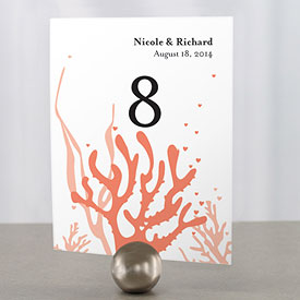 Coral Wedding Reception Table Number card