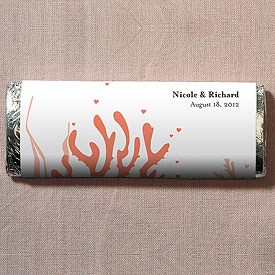 Coral Reef Chocolate Bar Wedding Favors