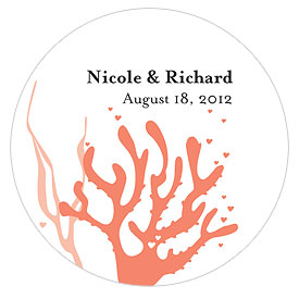 Coral Reef Small wedding favor Sticker