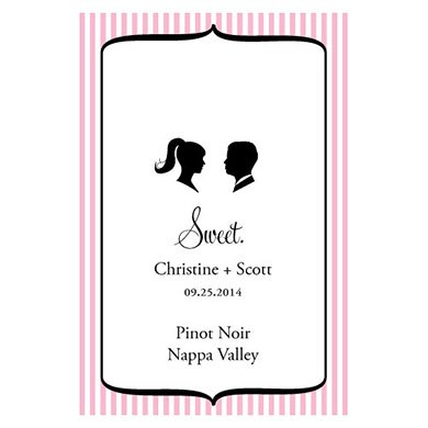 Sweet Silhouettes Wedding Wine Bottle Label