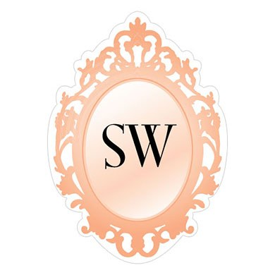 monogram mirror frame wedding sticker stationery