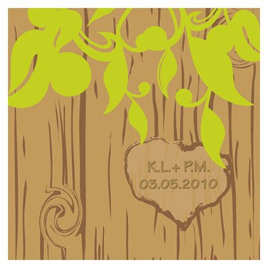 Carved Initials Tree Square Wedding Favor Gift Tag