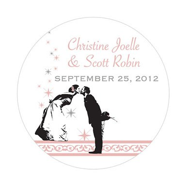 Vintage Hollywood Small Wedding Favor Sticker