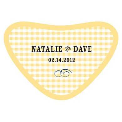 Plaid Heart Wedding Favor Container Sticker