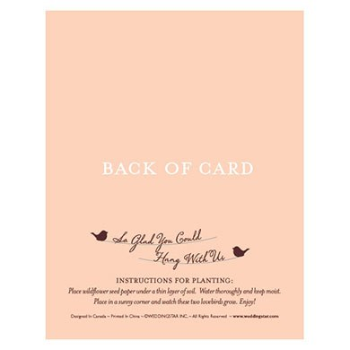 Hang With Us Personalized Favor Card with Seed Paper Love Birds