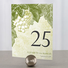 A Wine Romance Wedding Table Number